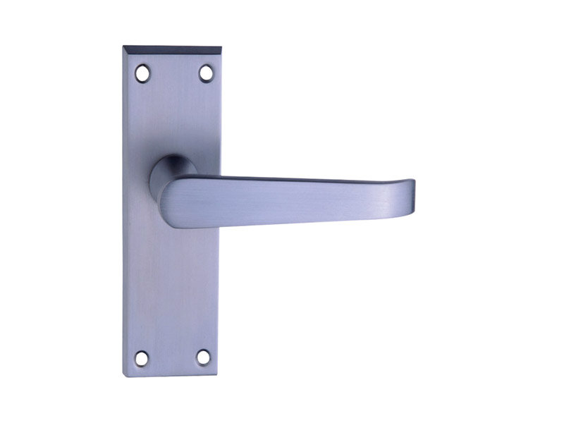 DH12025 Long Latch Lever Door Handle Polished Brass-LEVER DOOR HANDLE ON PLATE