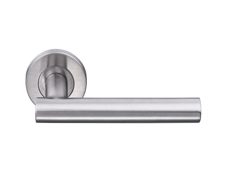 DHSS5254-HOLLOW STAINLESS STEEL LEVER DOOR HANDLE ON ROSE